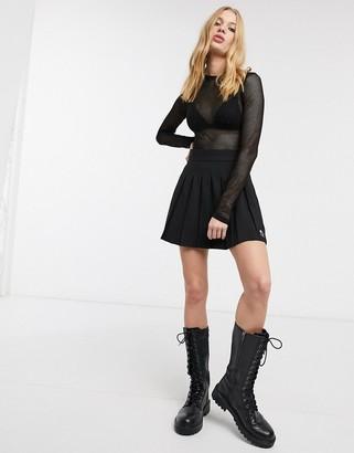 Bershka mini pleated tennis skirt in black