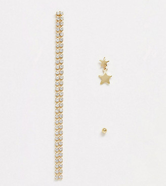 Orelia Ear Party single stud star tier and diamante drop 3 pack