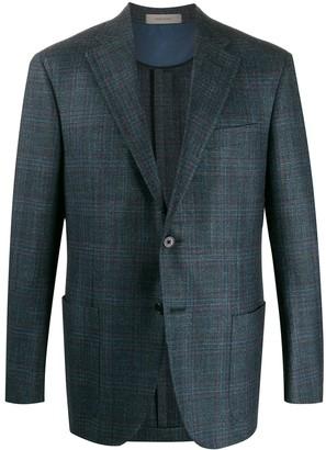 Corneliani knitted tartan patterned blazer
