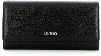 Iuntoo Black Leather Bifold Large Armonia Women's Wallet