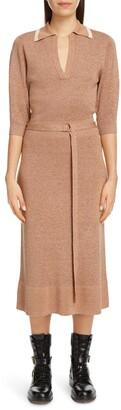 Chloé Belted Silk & Wool Midi Sweater Dress