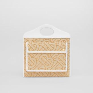 Burberry Medium Raffia and Leather Pocket Bag