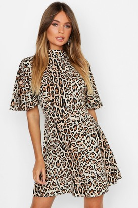boohoo Leopard High Neck Skater Dress