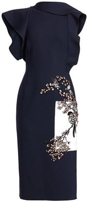 Oscar de la Renta Embroidered Floral Ruffle Sheath Dress