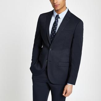 River Island Navy textured slim fit suit jacket