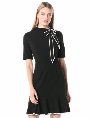 Adrianna Papell Women's Knit Crepe Tie Neck Dress