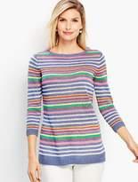 Talbots Petunia Stripe Linen Crewneck Sweater
