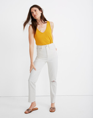 Madewell The Petite Momjean in Tile White: Ripped Edition