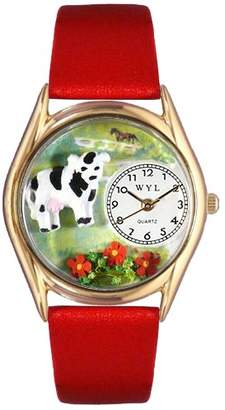 Whimsical Watches Cow Black Leather and Goldtone Unisex Quartz Watch with White Dial Analogue Display and Multicolour Strap C-0110001