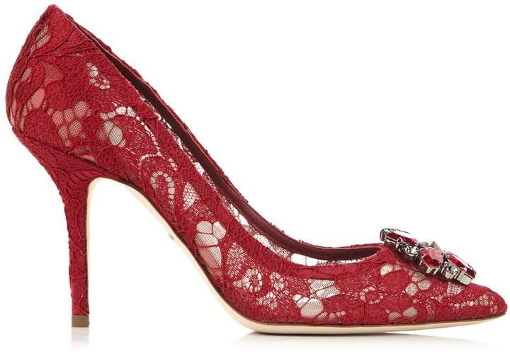 Dolce & Gabbana Belluci crystal-embellished lace pumps