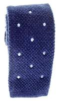 Black Navy Blue Polka Dot Knitted Cashmere Tie