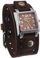 Nemesis #BBB516B Men's Dark Wide Leather Cuff Band Analog Dial Watch