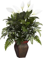 Asstd National Brand Nearly Natural Mixed Greens With Spathiphyllum & Decorative Vase Silk Plant