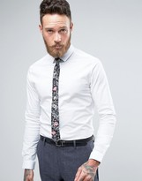 Asos WEDDING Skinny Shirt In White With Floral Tie SAVE