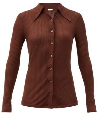 Dodo Bar Or Paya Rib-knitted Silk Shirt - Dark Brown