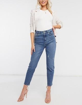 Stradivarius organic cotton ripped slim mom jeans with stretch in medium blue