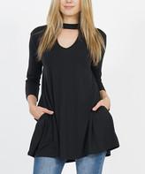 Lydiane Women's Tunics BLACK - Black Three-Quarter Sleeve Choker-Cutout Swing Tunic - Women