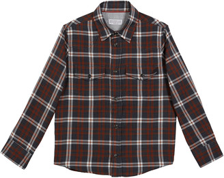 Brunello Cucinelli Boy's Cotton Plaid Western Shirt, Size 8-10