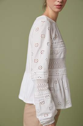 Next Womens White Broderie Top - White