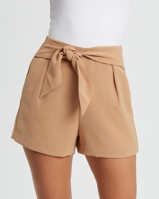 Tussah - Women's Brown High-Waisted - Tiarne Shorts - Size 14 at The Iconic