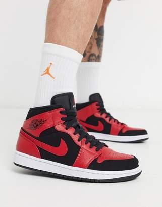 Jordan Nike Air 1 mid trainer in black and red 554724-054