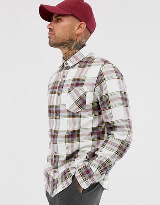 Brave Soul tartan check flannel shirt in ecru-Cream