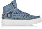 Jimmy Choo Ruben Jean Leather High Top Sneaker w/Studs
