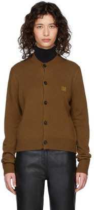 Acne Studios Brown Wool Keva Face Cardigan
