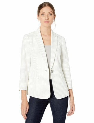 Kasper Women's 1 Button Peak Lapel Pinstripe Jacket