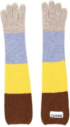 Ganni Multicolor Striped Gloves