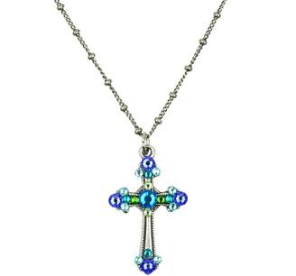Anne Koplik Multi Blues Small Cross Pendant Necklace