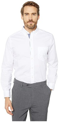 Nautica Long Sleeve Anchor Solid End on End (Bright White) Men's T Shirt