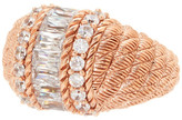 Judith Ripka Rose Gold Plated Sterling Silver CZ Pave Etched Band Ring - Size 7