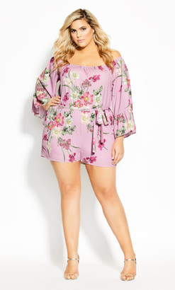 City Chic Pink Floral Playsuit - musk