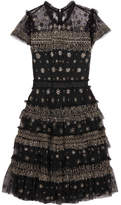 Needle & Thread Andromeda Ruffled Embellished Tulle Mini Dress - Black