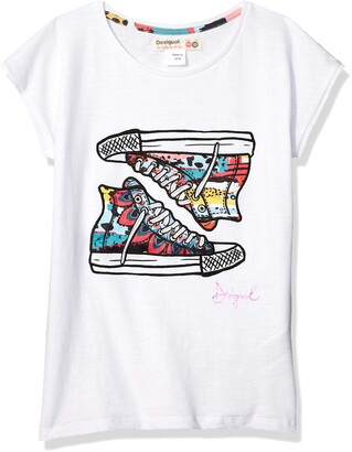 Desigual Girl Knit T-Shirt Short Sleeve (ts_Texas) White (White 1000) 116 (Size: 5/6)