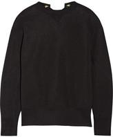 Sacai Lace-up Cotton-blend Sweatshirt - Black