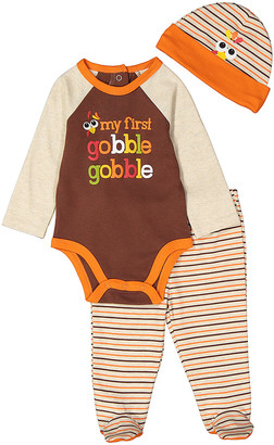 Baby Essentials Boys' Infant Bodysuits Brown - Brown 'My First Gobble Gobble' Raglan Bodysuit Set - Infant