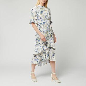 Hope & Ivy Women's Ruffle Midi Dress with Cut Out Back