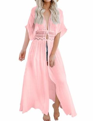 FANCYINN Women Lace Beach Kimonos Cardigan Open Front Swimsuit Crochet Beach Bikini Cover up Dress White