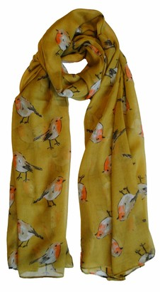 The Olive House Womens Christmas Winter Robin Bird Scarf Mustard