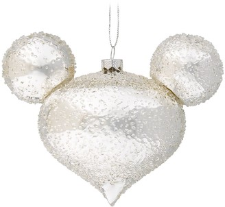 Disney Mickey Mouse Icon Glass Ornament Silver Ice
