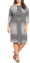 Gabby Skye Plus Size Women's Optic Stripe Sheath Dress
