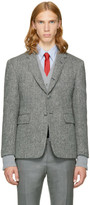 Thom Browne Black and White Wool Button Back Blazer
