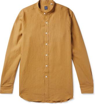 Beams Grandad-Collar Linen Shirt