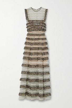 Costarellos Ingrid Leopard-print Chiffon And Polka-dot Flocked Tulle Maxi Dress - Leopard print