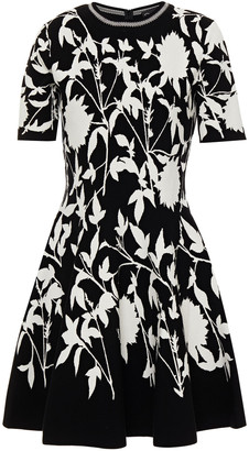 Oscar de la Renta Flared Jacquard-knit Mini Dress