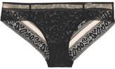 Calvin Klein Underwear Tease Tulle-trimmed Stretch-lace Briefs - Black