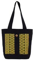 Black Cotton Tote Handbag with Golden Brocade Flowers, 'Chiang May Celebration'