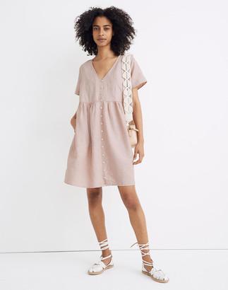 Madewell Linen-Blend V-Neck Button-Front Mini Dress